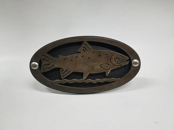 Rainbow trout hitch cover brushed steel custom fish for Fish hitch cover